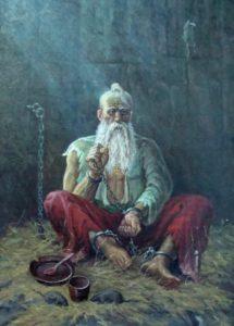 святий Петро Калнишевський на 112-му році життя у підземеллю Соловецкого монастиря в молитві за УКРАЇНУ-РУСЬ до ХРИСТА-БОГА